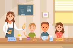 烹调与孩子 传染媒介平的例证 向量例证
