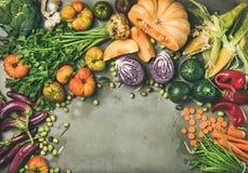 烹调与新鲜蔬菜的健康素食季节性秋天食物背景 图库摄影