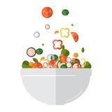 烹调与新鲜蔬菜的沙拉 平的样式 向量 免版税库存照片