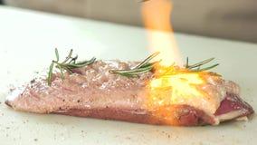 烹调与烹饪火炬的禽畜 股票视频