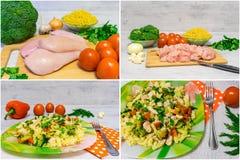 烹调与鸡和硬花甘蓝的面团 免版税库存照片