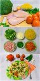 烹调与鸡和硬花甘蓝的面团 免版税库存图片