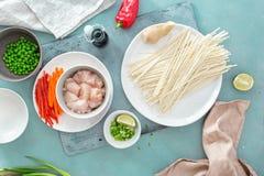 烹调乌龙面面条鸡肉石头表面家庭厨房顶视图的未加工的成份 免版税库存照片