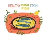 烹调印刷术海报的平的手拉的传染媒介鱼 库存例证
