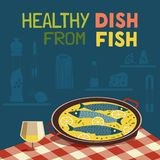 烹调印刷术海报的平的手拉的传染媒介鱼 向量例证