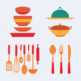 烹调厨房集合工具 图库摄影