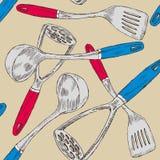 烹调厨房集合工具 皇族释放例证