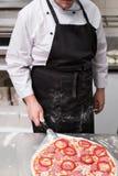 烹调可口膳食的辣香肠烘饼 免版税库存照片