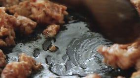 烹调和油煎香肠肉馅 影视素材