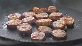 烹调和油煎香肠 影视素材