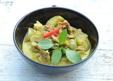 烹调咖喱泰国绿色的猪肉 库存照片