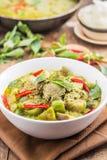 烹调咖喱泰国绿色的猪肉 库存图片