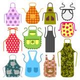 烹调围裙厨房设计衣裳主妇一致的厨师厨师防护纺织品棉花服装传染媒介的食物 库存例证