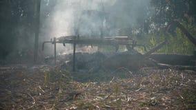 烹调在一个罐用准备的食物垂悬在与常礼帽的篝火营火的火野营的场面的常礼帽阵营 股票录像