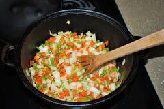 烹调在一个荷兰烘箱的菜 免版税库存图片