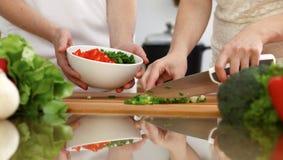 烹调在厨房里的人的手特写镜头  切开新鲜的沙拉的母亲和女儿或者两个女性朋友菜 库存照片