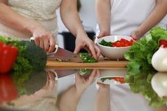 烹调在厨房里的人的手特写镜头  获得的朋友乐趣,当准备新鲜的沙拉时 素食主义者,健康我 库存照片