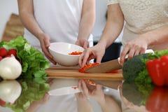 烹调在厨房里的人的手特写镜头  获得的朋友乐趣,当准备新鲜的沙拉时 素食主义者,健康我 图库摄影