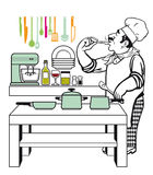 烹调在厨房里的厨师 库存图片