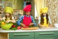 烹调在厨房里的子项 免版税库存图片