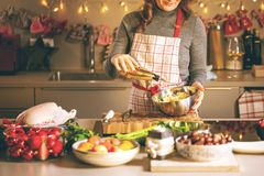 烹调在厨房里的少妇 圣诞节被充塞的鸭子或鹅的健康食品 免版税库存照片