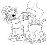 烹调在大锅的巫婆一种魔药 免版税库存图片