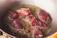 烹调在大锅的plov 仅肉和葱在大锅 野外用的全套炊具 免版税图库摄影