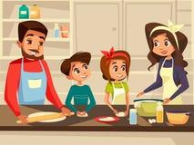 烹调在家庭的厨房传染媒介平的动画片例证的现代欧洲家庭一起准备膳食食物 库存例证