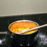 烹调在平底锅的柑桔 库存图片