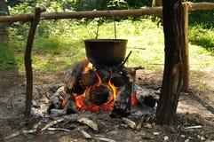 烹调在本质 在火的大锅在森林里 库存图片