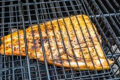 烹调在机架的三文鱼 免版税库存图片