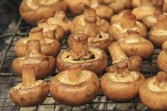 烹调在格栅的蘑菇 库存图片