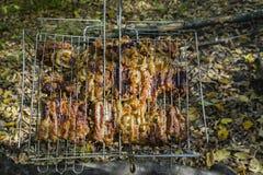 烹调在火的排骨 在格栅的烤肉串,与火焰的烤肉本质上 o 库存照片