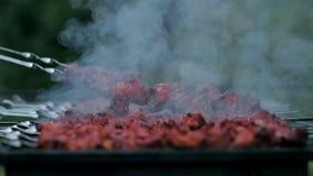 烹调在火的鲜美肉 股票视频