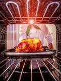 烹调在烤箱的鸡 库存图片