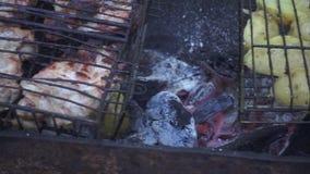 烹调在烤肉的新鲜的土豆在夏天野餐烤在自然 股票视频