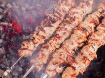 烹调在煤炭的kebab 在串的烤猪肉 库存图片