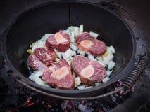 烹调在生铁罐或potjiekos,博茨瓦纳,南部非洲的柴火的葱和新鲜的牛肉肉 免版税库存照片