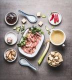 烹调在碗的各种各样的亚洲人成份与豆腐和肉的辣亚洲汤的:切的肉,姜,辣椒,把豆腐, Oyst切成小方块 图库摄影