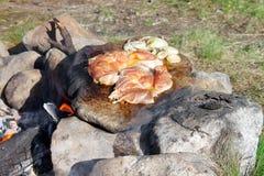 烹调在篝火的肉 库存照片