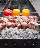 烹调在金属串的烤kebab 烤肉被烹调在烤肉 用红色和黄色喇叭花胡椒 图库摄影