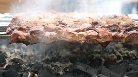 烹调在金属串的猪肉在煤炭 股票视频