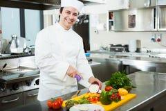 烹调在他的厨房里的厨师 免版税库存图片