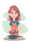 烹调女孩 免版税库存照片