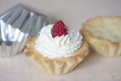 烹调奶油色蛋糕的过程 免版税库存图片