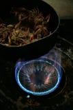 烹调小龙虾gaz的烹饪器材 图库摄影