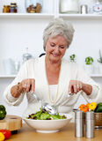 烹调愉快的沙拉前辈妇女 免版税库存照片