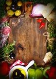 烹调意大利语的食品成分 免版税库存照片