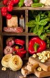 烹调意大利语的食品成分 图库摄影