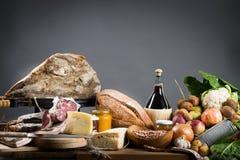 烹调意大利语的食品成分 免版税图库摄影